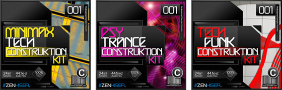 Zenhiser Minimax Tech, Psy Tech, and Tech Funk Construction Kits