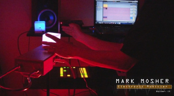 Mark Mosher using the Theremin as a spatial controller to control virtual digital synthesizers running out of Ableton Live in combination with Percussa AudioCubes