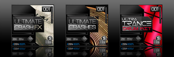 Zenhiser Ultimate Crash FX, Ultimate Crashes, and Ultra Trance Drum Kit