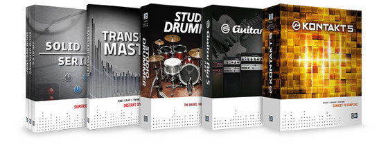 Native Instruments KONTAKT 5, GUITAR RIG 5 PRO, STUDIO DRUMMER, SOLID MIX SERIES and TRANSIENT MASTER
