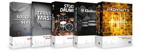 Native Instruments KONTAKT 5, GUITAR RIG 5 PRO, STUDIO DRUMMER, SOLID MIX SERIES and TRANSIENT MASTER