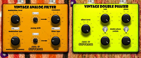 Softrave Vintage Analog Filter and Double Phaser