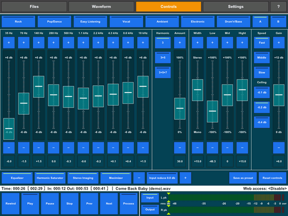 Audio Mastering app