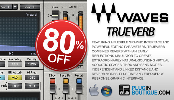 Waves TrueVerb 80% off