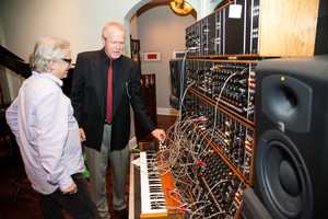 Steve Porcaro and Michael Boddicker checking out the vintage Moog Modular
