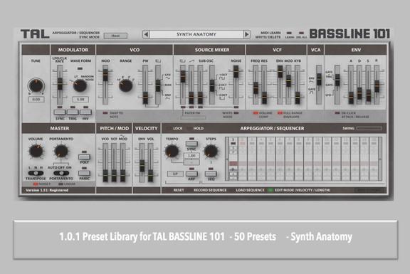 Synth Anatomy TAL Bassline 101 Soundset