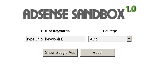 Adsense Sandbox website screenshot