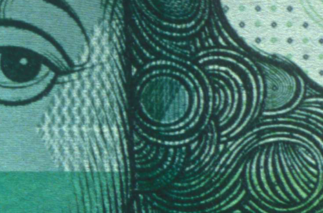 Detail of a 1000 guilder note