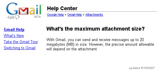 Gmail Help Center - Maximum attachment size 20 MB
