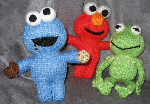 Cookie, Elmo and Kermit by knittycat