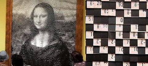 Mona Lisa made with old train tickets