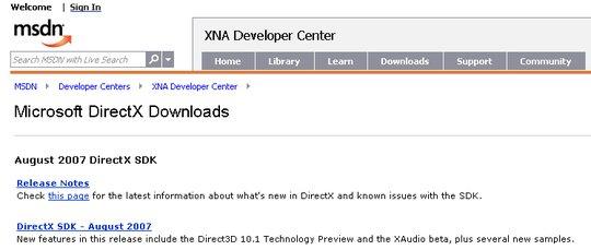 MSDN DirectX downloads