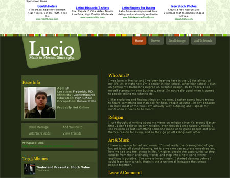 screenshot of Lucio @ MySpace