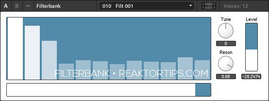 Reaktortips Filterbank