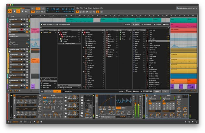 Bitwig Studio 1.2 Popup Browser