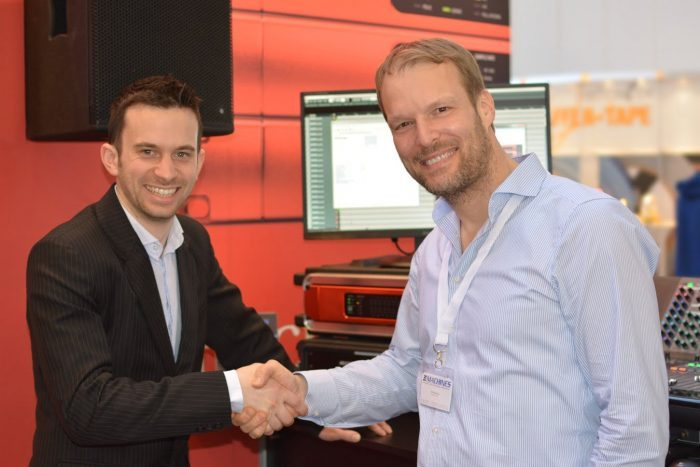 XI-MACHINES Focusrite booth FMM2015 handshake Patrick Strenge Will Hoult