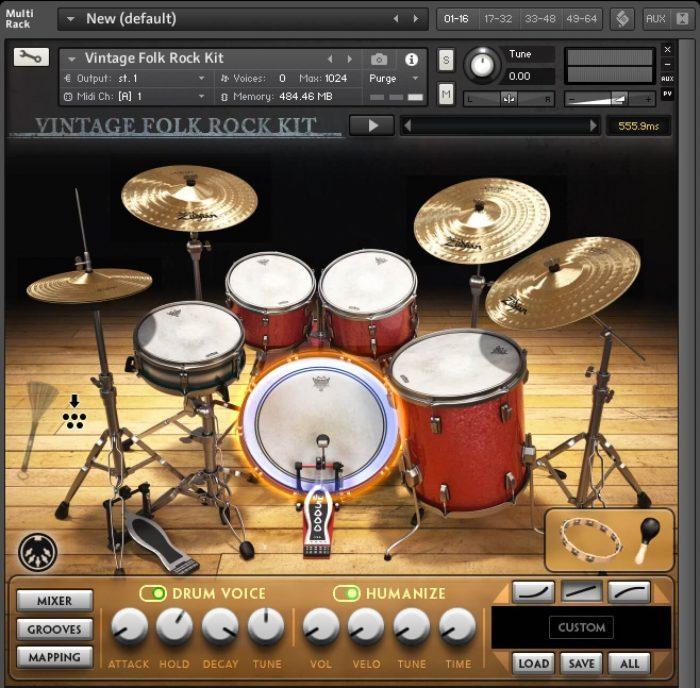 Drumdrops Vintage Folk Rock Kit Drumkit