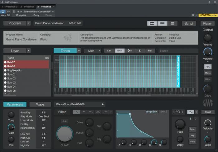PreSonus Presence-XT Editor Main Grid