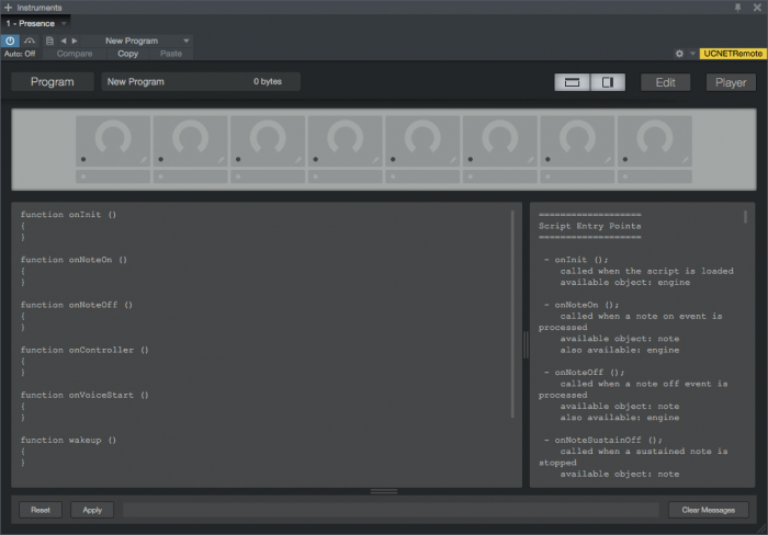PreSonus Presence-XT Editor Scripting