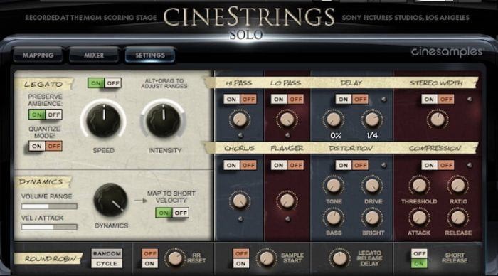 Cinesamples CineStrings SOLO settings