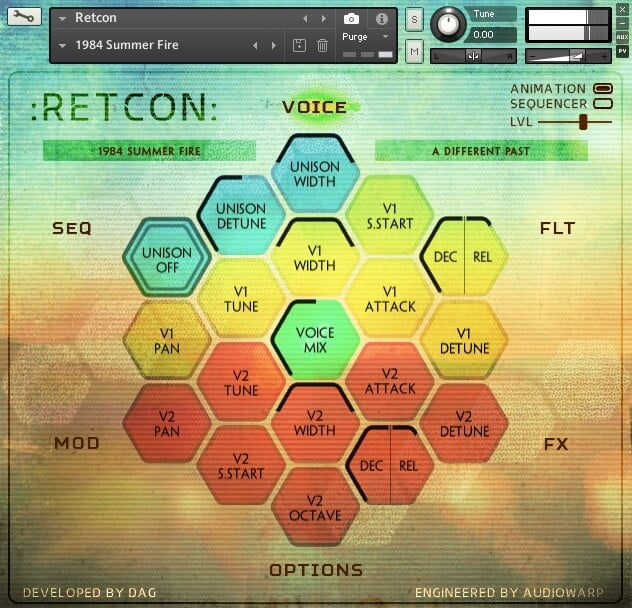 AudioWarp Retcon screen