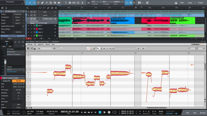 Melodyne 4.1 in Studio One with ARA – Comping