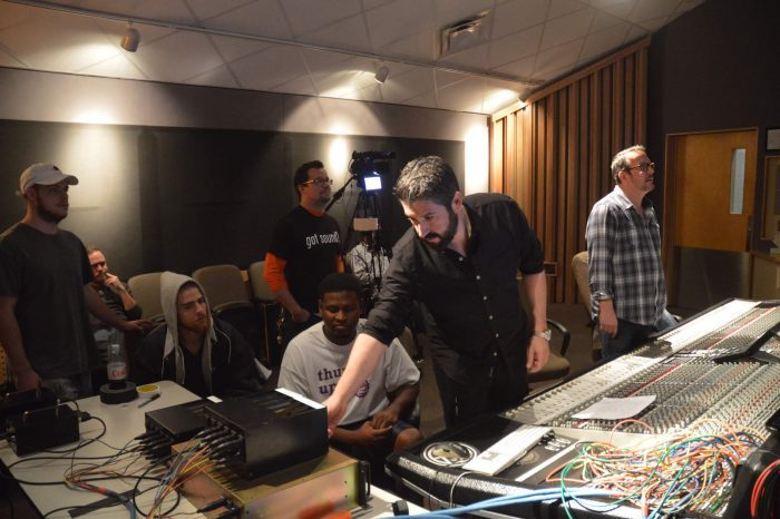 BAE Audio's Colin Liebich and CRAS Instructor Tony Nunes teach CRAS students about analogue recording