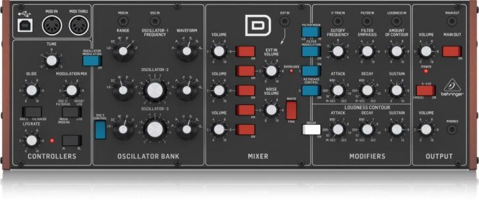 Behringer D synth top