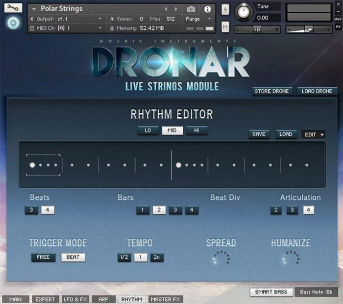 DRONAR Live Strings Rhythm Editor