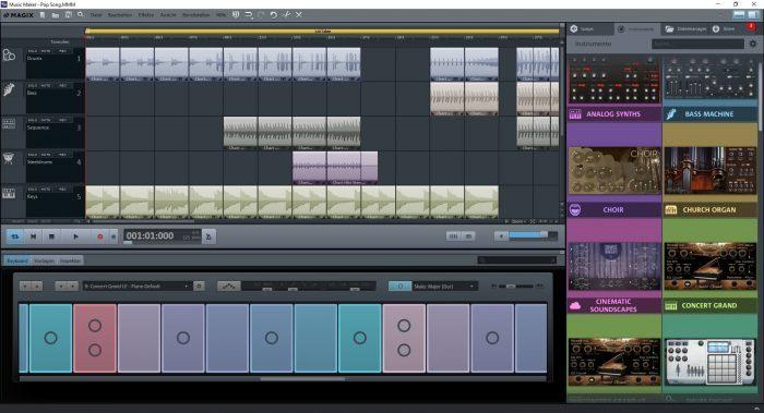 MusicMaker FreeVersion Bildschirm Keyboard