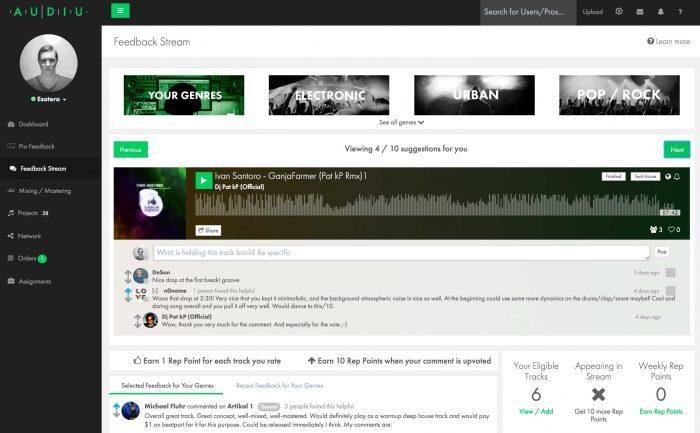 Audiu feedback stream