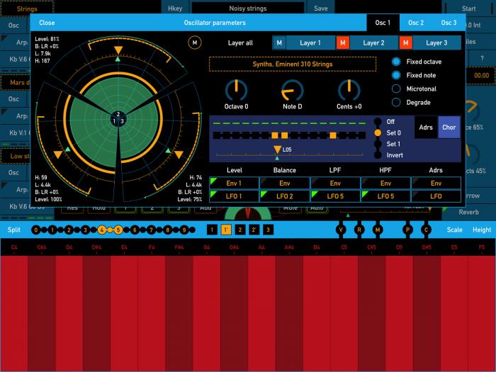 SynthScaper filter oscillator parameters