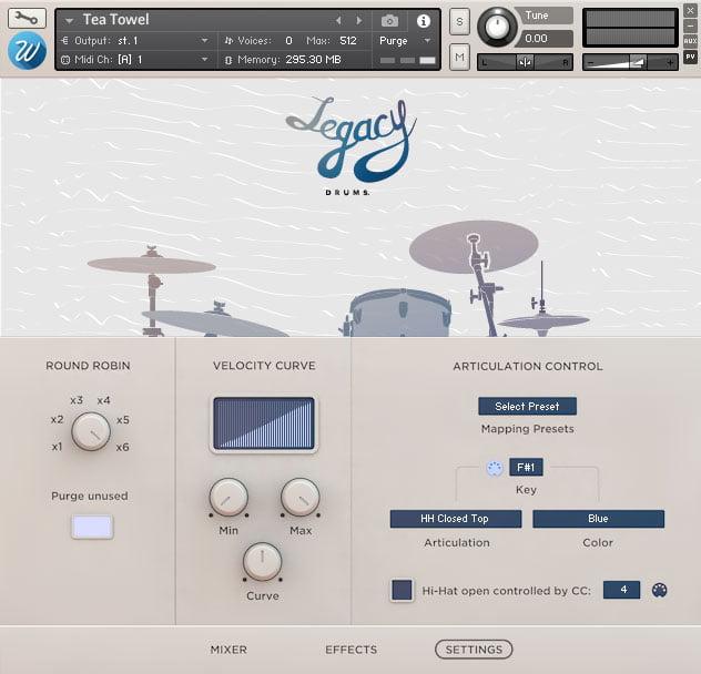 Wavesfactory Legacy Drums settings