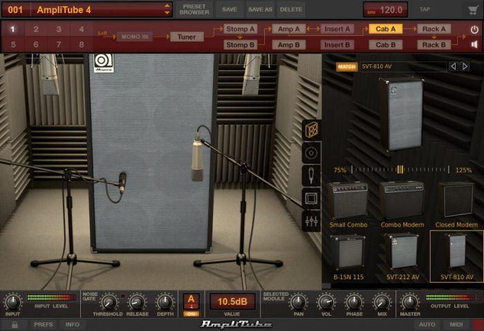 IK Multimedia Ampeg SVX 2 booth SVT 810 AV menu