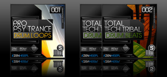 Zenhiser Pro Psytrance Drum Loops and Total Tech Tribal Drum Beats