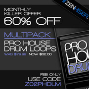 Zenhiser Pro House Drum Loops 60% off