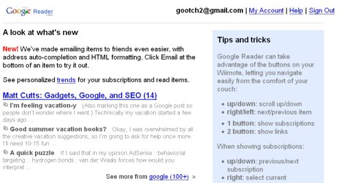 Google Reader Wii interface