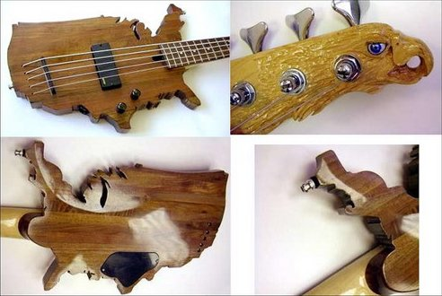 Bass guitar shaped like North America