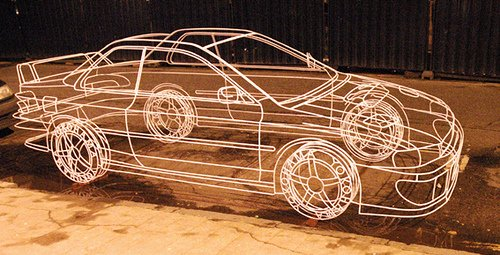 Wire frame sculpture of a Subaru Impreza
