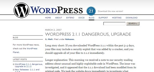Screenshot of WordPress website