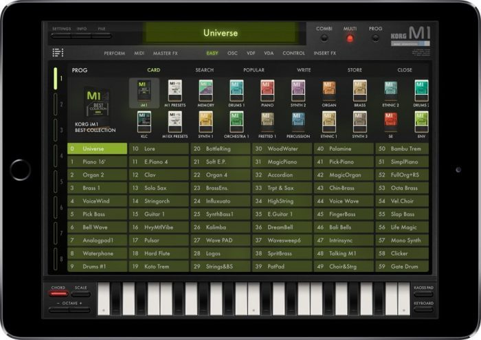 Korg iM1 card browser