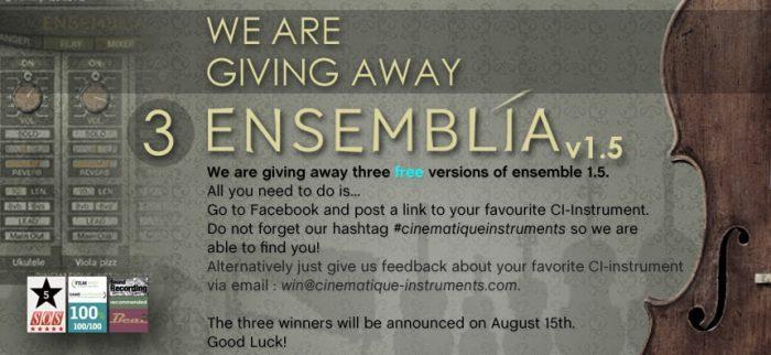 Cinematique Instruments Ensemblia 1.5 Giveaway