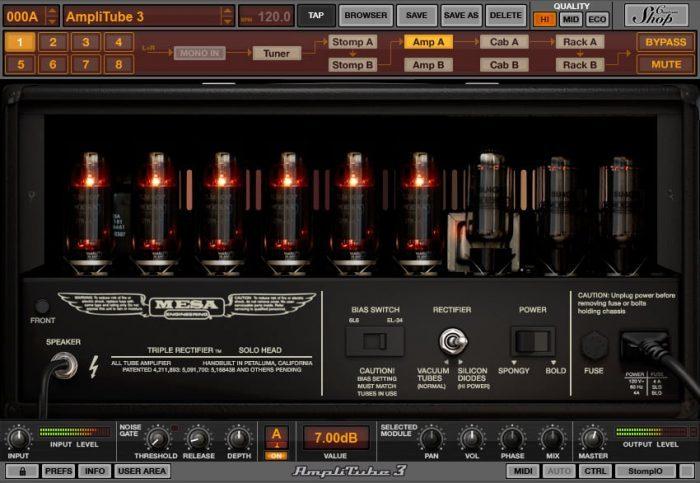IK Multimedia AmpliTube MESA triple rectifier back