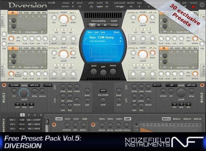 Noisefield Instruments Free Preset Pack Vol. 5 Diversion