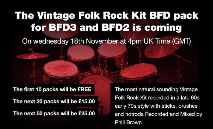Drumdrops Vintage Folk Rock Kit BFD Pack
