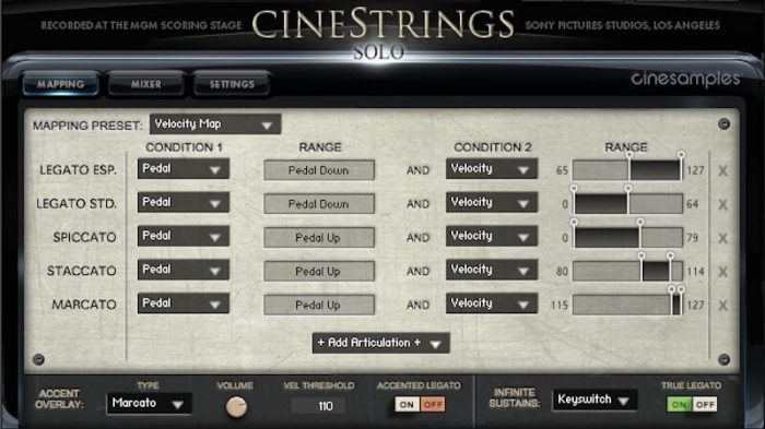 Cinesamples CineStrings SOLO mapping