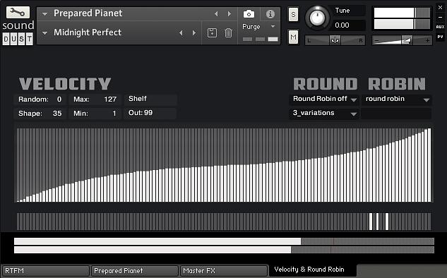 Sound Dust Prepared Pianet velocity