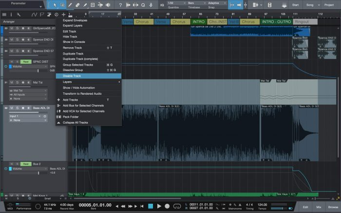 PreSonus Studio One 3.3 disable track