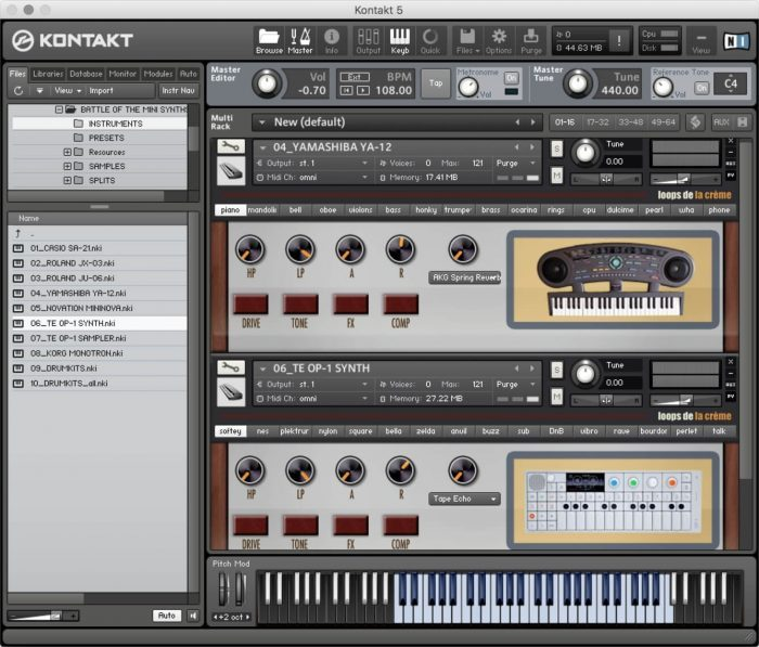 Loops de la Creme Mini Synths Collection screen
