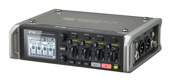 Zoom F4 multitrack field recorder angle